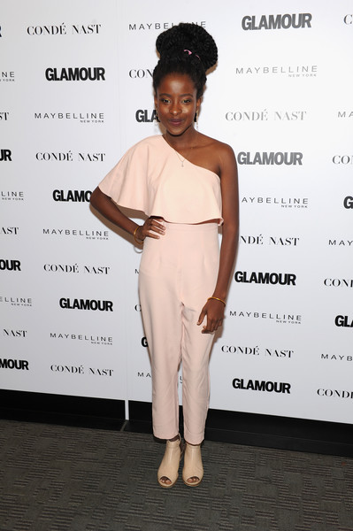 Amanda Gorman attended Glamour's 'The Girl Project' wearing a cute pink one-shoulder jumpsuit.