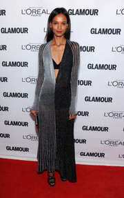 Liya Kebede dazzled at the Glamour Women of the Year Awards in a monochrome striped dress with a navel-grazing neckline.