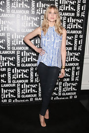 Lucy Punch added an edgy feel to her ensemble with a pair of black leather pants when she attended Glamour's presentation of 'These Girls.'