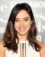 Aubrey Plaza wore her hair down with just a hint of waves during Glamour's 'These Girls' event.