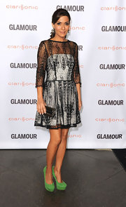 Marisol opted for statement-making heels at the 'Glamour' fete in LA. She paired her black and white cocktail frock with lime green platform pumps.