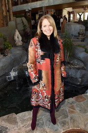 Katie Couric looked grand in a fur-collar jacquard coat while attending Glamour's Women Rewriting Hollywood lunch.