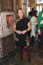 Katie Couric attended Glamour's Women Rewriting Hollywood lunch wearing a black suede dress with Oriental-inspired embroidery.