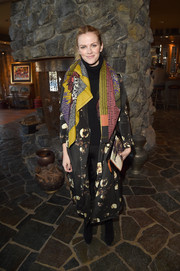 Brooklyn Decker rocked clashing prints with this duster coat and scarf combo during Glamour's Women Rewriting Hollywood lunch.