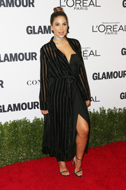 Liz Hernandez layered a sheer-striped duster over a little black dress for her Glamour Women of the Year 2016 look.