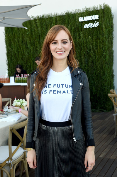 Ahna O'Reilly toughened up her look with a black leather jacket.