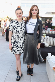 Gillian Jacobs kept it breezy in a black-and-white printed mini at the Glamour Women of the Year 2016 LIVE Summit breakfast.
