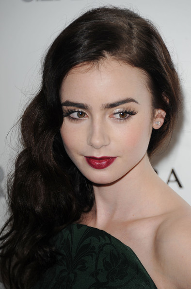 More Pics of Lily Collins Red Lipstick (1 of 6) - Red Lipstick Lookbook - StyleBistro