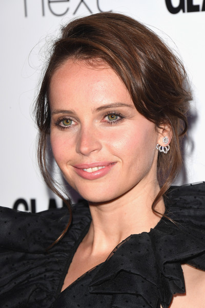 More Pics of Felicity Jones Loose Bun (3 of 7) - Felicity Jones Lookbook - StyleBistro [hair,face,hairstyle,eyebrow,chin,beauty,lip,skin,brown hair,forehead,felicity jones,glamour women of the year awards,awards,england,london,berkeley square gardens,red carpet arrivals,glamour women of the year]