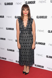 Rashida Jones kept it classy in a fully embroidered gray dress by Erdem at the 2017 Glamour Women of the Year Awards.