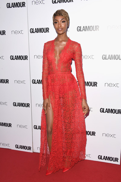 More Pics of Jourdan Dunn Evening Pumps (5 of 8) - Heels Lookbook - StyleBistro [dress,clothing,fashion model,red carpet,red,shoulder,carpet,cocktail dress,hairstyle,fashion,jourdan dunn,glamour women of the year awards,awards,england,london,berkeley square gardens,red carpet arrivals,glamour women of the year]