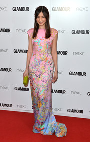 Gemma Chan was a delight to the eyes in this colorful, Asian-inspired print gown by Mary Katrantzou at the Glamour Women of the Year Awards.