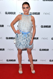 Ella Catliff worked a flirty vibe in this fluffy pale-blue mini dress by Fendi at the Glamour Women of the Year Awards.