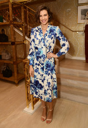 Lauren Cohan was demure in a long-sleeve floral pussybow dress at the Glamour x Tory Burch Women to Watch lunch.