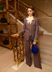 Natalia Dyer suited up in this patterned three-piece for the Glamour x Tory Burch Women to Watch lunch.