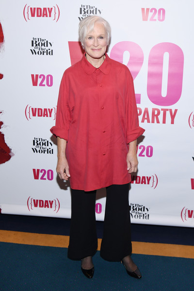 Glenn Close Wide Leg Pants [the body of the world,the vagina monologues featuring a performance,red,pink,clothing,carpet,red carpet,premiere,fashion,flooring,outerwear,event,eve ensler,glenn close,red party - 20th anniversary celebration of v-day,carnegie hall,red party,party,celebration,party]
