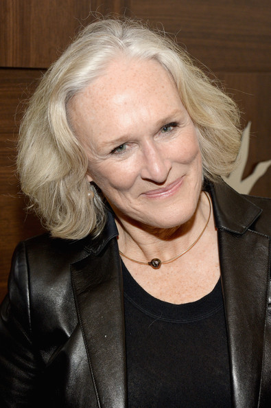 Glenn Close Bob [low down,grey goose blue door hosts,hair,blond,hairstyle,nose,chin,leather,wrinkle,jacket,leather jacket,smile,glenn close,park city,utah,grey goose,party]