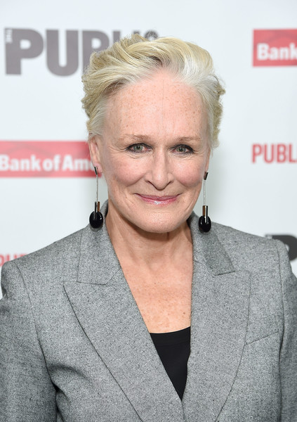 Glenn Close Fauxhawk [mother of the maid,hair,blond,hairstyle,chin,forehead,white-collar worker,feathered hair,premiere,smile,wrinkle,glenn close,new york city,the public theater,opening night celebration]