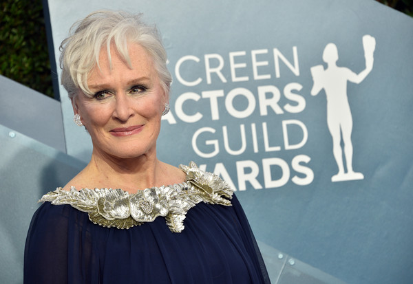 Glenn Close Messy Cut [lady,beauty,fashion,dress,blond,shoulder,premiere,fashion accessory,carpet,jewellery,arrivals,glenn close,screen actors guild awards,screen actors\u00e2 guild awards,the shrine auditorium,los angeles,california,glenn close,screen actors guild awards,golden globe awards,actor,critics choice movie awards,sag-aftra,celebrity]