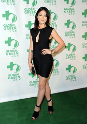 Michelle Branch showed off her figure in a fitted LBD paired with strappy platform sandals.