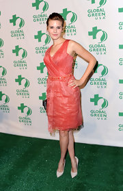 Maggie Grace wore this peach organza eco-friendly cocktail dress to the pre-Oscar Global Green party.