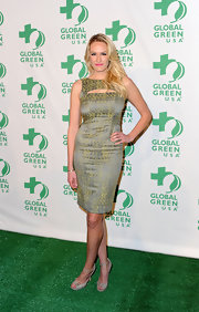Ashlan Gorse wore this textured green cocktail dress to the Global Green pre-Oscar party.