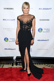 Yolanda Hadid sheathed her ageless figure in a sheer-panel fishtail gown by Pamella Roland for the Global Lyme Alliance Gala.