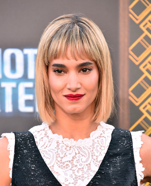 Sofia Boutella sported a classic bob with wispy bangs at the premiere of 'Hotel Artemis.'