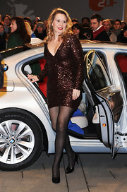 Kristine Knudsen sparkled in a chocolate dress at the 'Gnade' premiere in Berlin.