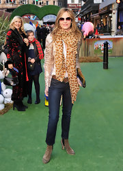 Trinny Woodall wore jeans and a sequined jacket and topped it all off with a leopard-print scarf at the 'Gnomeo and Juliet' premiere.