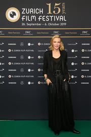 Cate Blanchett layered a black Saint Laurent blazer over a sheer top for the Zurich Film Festival premiere of 'Where'd You Go, Bernadette.'
