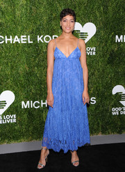 Cush Jumbo looked alluring in a periwinkle lace slip dress by Michael Kors at the 2018 Golden Heart Awards.