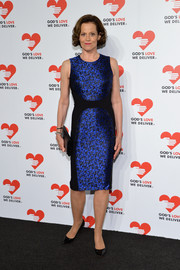 Sigourney Weaver shimmered in an iridescent blue Michael Kors dress featuring a subtle print and black paneling when she attended the Golden Heart Awards.