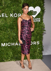Cush Jumbo styled her dress with a pair of black PVC ankle-strap sandals.