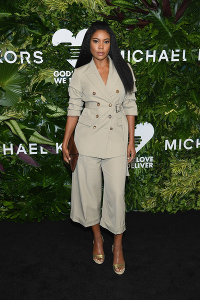 More Pics of Gabrielle Union Pantsuit (1 of 6) - Suits Lookbook - StyleBistro [clothing,white,suit,pantsuit,fashion,trench coat,dress,footwear,formal wear,outerwear,golden heart awards,love,new york city,god,gabrielle union]