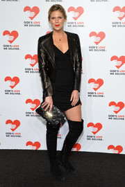 Alexandra Richards sported an edgy black leather jacket and mini dress combo at the Golden Heart Awards.