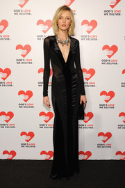 Daria Strokous made goth look so elegant with this multitextured, long-sleeve evening dress featuring a deep-V neckline when she attended the Golden Heart Awards.