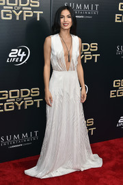 Elodie Yung looked ravishing in a floor-sweeping white dress with a down-to-the-navel neckline at the New York premiere of 'Gods of Egypt.'