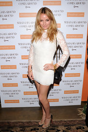 Becki Newton showed off her embellished peep-toe pumps, which spiced up her white lace dress.