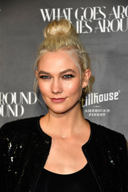 Karlie Kloss rocked a loose high bun at the What Goes Around Comes Around one-year anniversary party.