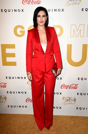Rumer Willis brought a vibrant splash of color to the Gold Meets Golden event with this fire engine-red pantsuit.