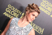 Emily Bett Rickards looked super romantic with her pinned-up ringlets at the Golden Globe Award season celebration.