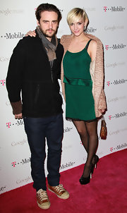 Ashlee Simpson wore a silk green frock with a lace trim for the Google Music Launch Party 2.