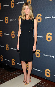Brooklyn Decker looked sailor-shic in this gold-buttoned LBD at the 'Got Your 6' press conference.