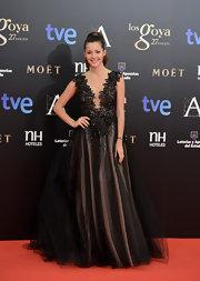 Malena Costa looked like royalty wearing a gorgeous beaded chiffon princess gown at the Goya Cinema Awards 2013.