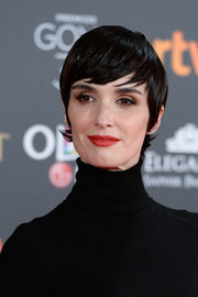 Paz Vega was stylishly coiffed with this sleek emo cut at the 2017 Goya Cinema Awards.