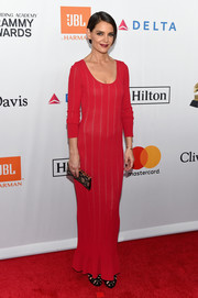Katie Holmes looked simply sophisticated in a red knit maxi dress at the Grammy Salute to Industry Icons.