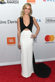 Kristin Cavallari went for a sleek, modern black-and-white cutout gown by Rita Vinieris when she attended the Grammy Salute to Industry Icons.
