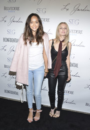 Ashley Madekwe attended the grand opening of Le Jardin dressed down in faded skinny jeans and a white tank top.