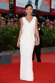 Virginie Ledoyen's crisp white gown popped on the red carpet at the premiere of 'Gravity' in Venice.